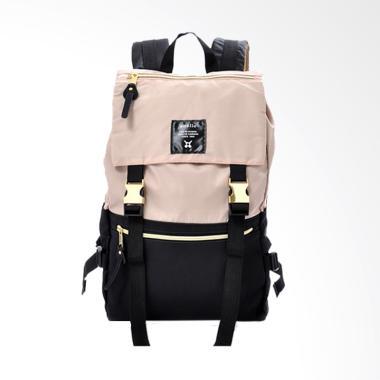 Anello HD Nylon Backpack Tas Ransel - Black Beige