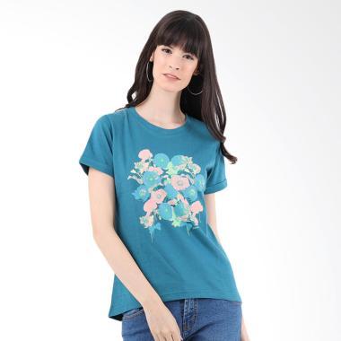 Mobile Power H6825 Ladies Basic Flower Printing T-shirt - Green