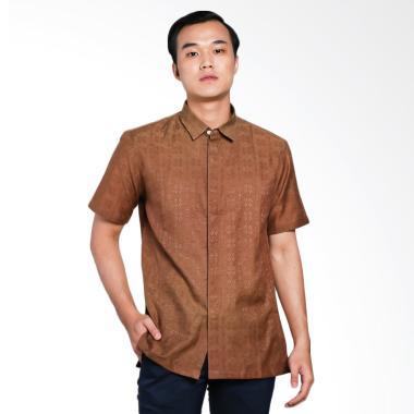 The Cufflinks Store Shirt Batik Dobby Kemeja Batik Pria - Brown