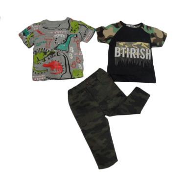 VERINA BABY 3in1 Atasan Dino and Ar ... s Set Pakaian Anak - Grey