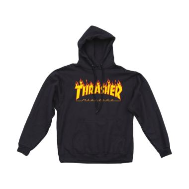 Thrasher Magazine Flamed Logo Pullover Hoodie Sweater Pria - Black