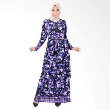 Jfashion Aqillah Maxi Corak Bunga Long Dress Gamis Wanita - Ungu