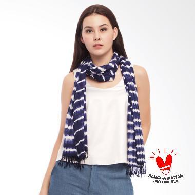 Benangsari Irma Scarf Selendang Batik Shibori Wanita - Navy Blue