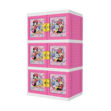 Naiba MPC Premium MNP Minnie Mouse Printing Lemari Plastik - Pink