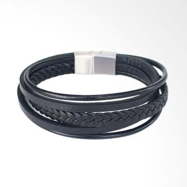 VERNYX Leather Holy Multi Braid Gelang Pria - Black [GLT6544]