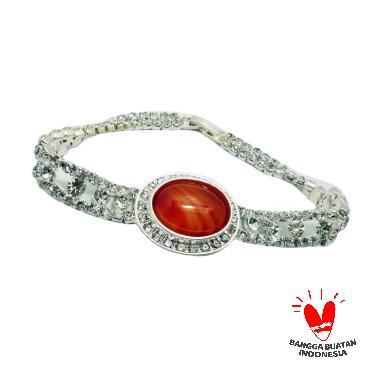 Vee Kristal Swarovski Batu Giok Coklat Model 1 Gelang Terapi Kesehatan