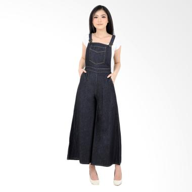 Jfashion Denim Korea Simpel Celana Kulot Jumpsuit Wanita - Denada Navy