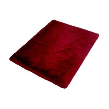 Rasfur Besar Karpet Bulu - Merah Maroon [200 x 150 x 3 cm]