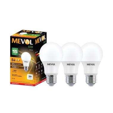 Meval Bohlam Lampu LED - Warm White [5W/ 3 pcs]