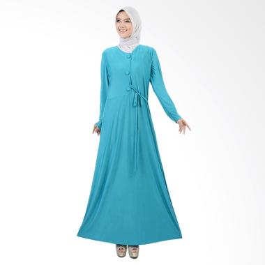 Jfashion Tiara Maxi Variasi Kancing Besar Long Dress Gamis - HIjau