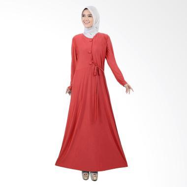 Jfashion Maxi Variasi Kancing Besar Long Dress Gamis - Tiara Bata