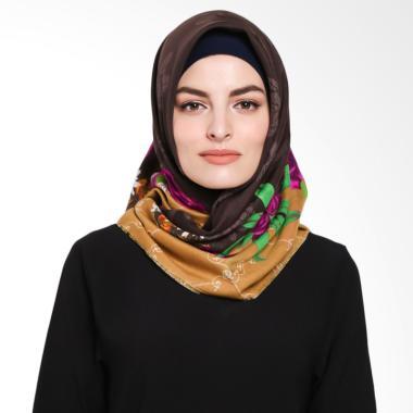 Ansania Saudia 08 Motif Flower Jilbab Segiempat - Brown