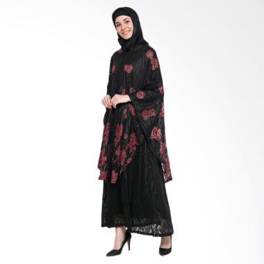 Kasa Heritage Rashida Set Dress Gamis Wanita - Hitam Merah