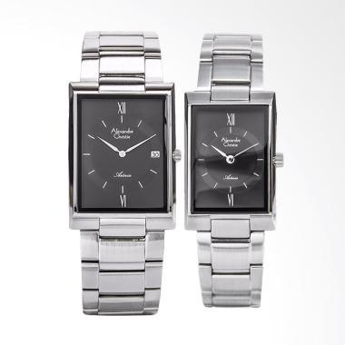 Alexandre Christie Jam Tangan Couple - Black Silver [AC8535CPL]