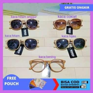 harga Unik Kacamata Gaya Kecamata Pria Wanita Kaca mata Terbaru GB 356 MOTIF KAYU - Kaca Bening Murah Blibli.com