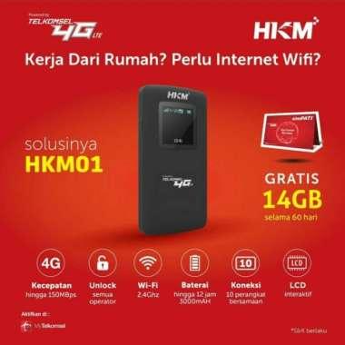 harga HKM 001 Modem Mifi Wifi 4G Unlock Free Kuota Telkomsel 14GB Hitam Blibli.com
