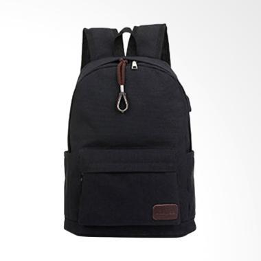 TWD Daypack Kanvas dengan USB Charger Port - Black
