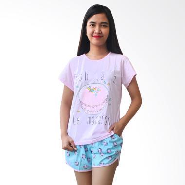 Aily ALY103 Macaron Setelan Baju Tidur Wanita - Pink