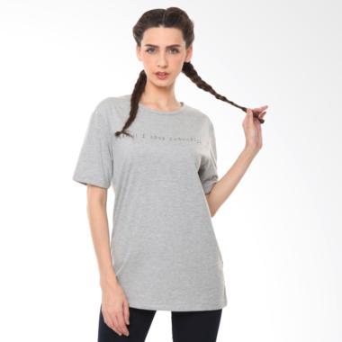 Damn! I Love Indonesia Handwritten T-Shirt Atasan Wanita - Grey