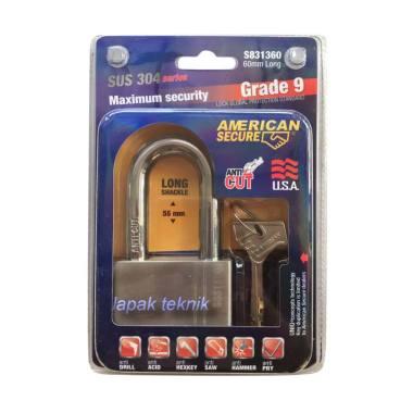 American Secure Long Grade 9 SUS 304 Series Gembok Panjang [60 mm]