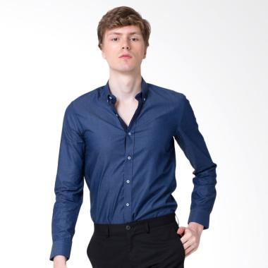 The Executive Long Sleeve Shirt Kemeja Pria - Blue [118D177]