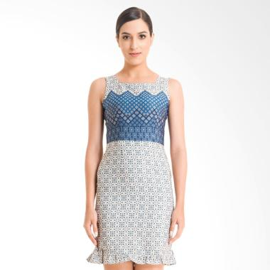 Bateeq FL003B-SS18 Sleeveless Cotton Print Dress Batik Wanita - Cream