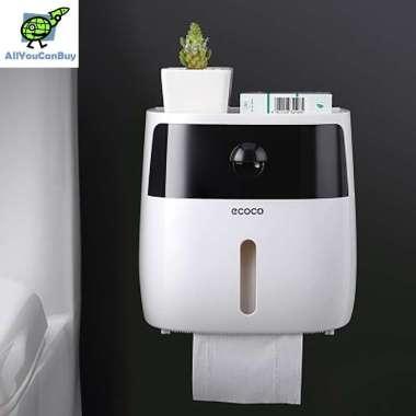 harga ECOCO E1804 Kotak Tisu Tissue Storage Toilet Paper Box Dispenser Double Layer Black White Blibli.com