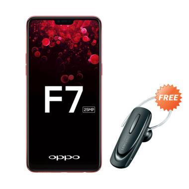 OPPO F7 Pro Smartphone - Red [128GB/ 6GB] + Free Headset Bluetooth