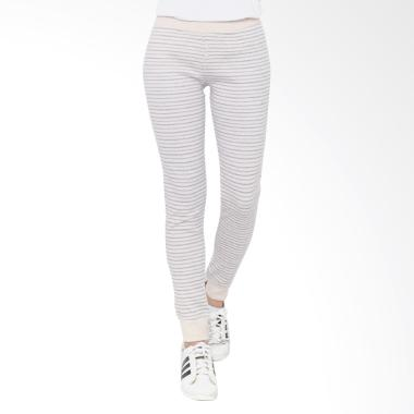 PURPLEJADE GB Lounge Jogger Stripe Celana Wanita - Cream