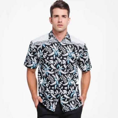 Batik Distro Motif Batik Pola Bahu Kemeja Pria Hitam K8147