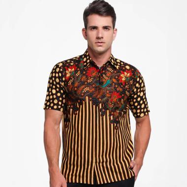 Batik Distro Motif Batik Kombinasi Lurik Kemeja Pria - Coklat [K8148]