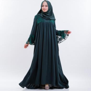 Cantik Syari Brukat Emerald Gamis - Dark Green [Original]