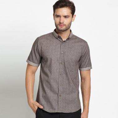 harga A&D Mens Casual Short Sleeve Kemeja Pria - Brown [Ms 749A] Blibli.com