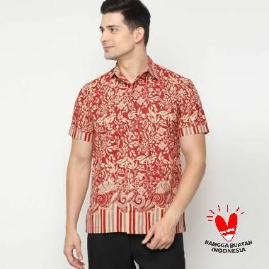 Benangsari Kamil Shirt Kemeja Batik Pria Maroon Beige
