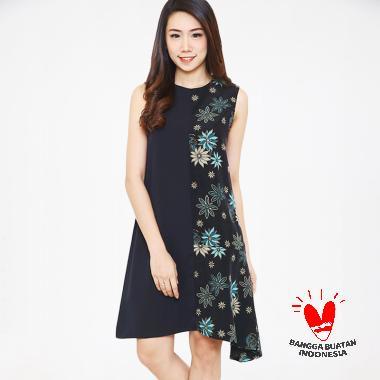 Batik Flike Store Dress Wanita Asymetric Dress Black Black Tosca Samurei