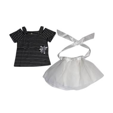 Verina Baby Atasan Stripe Sabrina Plus Rok Tutu Putih Setelan Anak