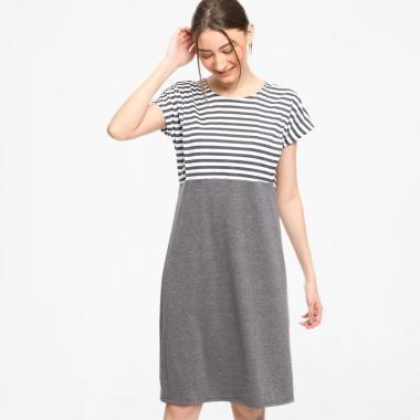 Just Mom CS101 Cassie Stripe Baju Menyusui - Grey