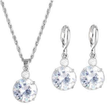 Bluelans Jewelry Set Round Rhinestone Pendant Necklace Bridal Leaverback Earrings - Silver