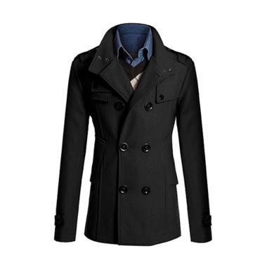 harga Bluelans Stylish Men Slim Double Breasted Long Sleeve Jacket Winter Trench Coat Outwear Blibli.com