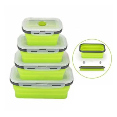 Folding Silicone Food Storage Container BPA Free Camping Picnic Lunch Boxes