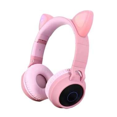harga Kids Headphone Bluetooth Glow Lights Cat Ear Bluetooth Children Headset Pink - Blibli.com