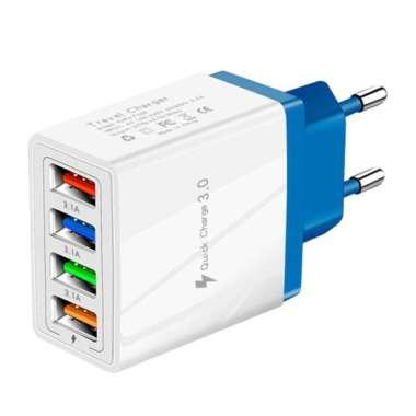 harga USB Power Adapter Home Wall Charger EU Plug for Phones Charger Dark Blue Blibli.com