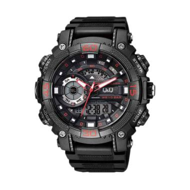 Q&Q Q 001 DB Chrono Alarm Jam Tangan Pria - Black Red