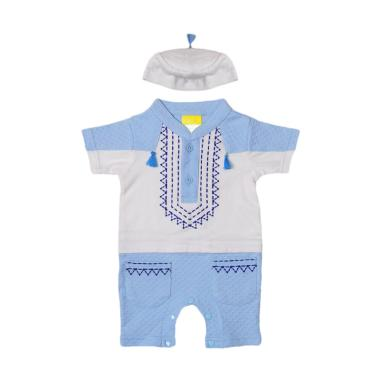 Eyka Romper Gamis Tazel Baby Baju Muslim Anak Laki-laki - Blue White