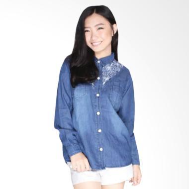 Dline Jeans OOTD Kemeja Wanita - Blue Jeans