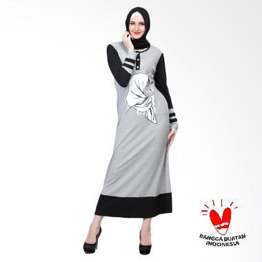 Inficlo Aishah SHJ 474 Long Dress Wanita - Grey Black