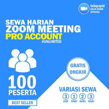 Sewa Zoom Meeting (PRO ACCOUNT) Harian Unlimited Meeting Time 3 Jam