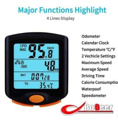 harga BOGEER Speedometer Sepeda Wired Odometer LED Monitor Waterproof - YT-813 - Black hitam Blibli.com
