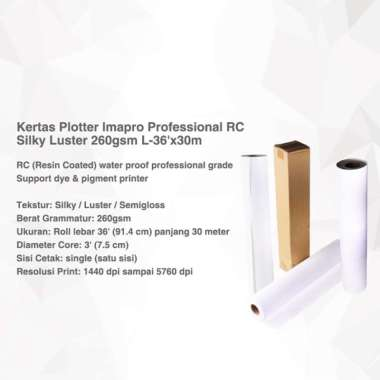 harga Kertas Plotter Imapro Professional RC Silky Luster 260gsm L-36'x30m Putih Blibli.com