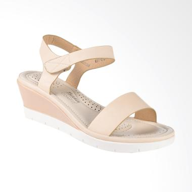 Bata Ladies Cynth 6615124 Wedges Sandal Wanita - Beige